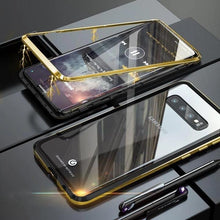 Load image into Gallery viewer, Magnetic Adsorption Transparent Tempered Glass Two side Glass Cover Phone Case For Samsung phone case Article union BLACK & GOLD SAMSUNG S10