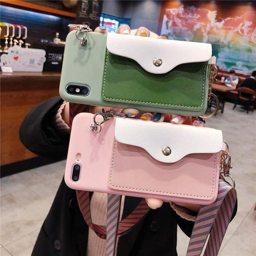 Cross Mini Bag Coin Pocket Candy Color Phone Case for iPhone