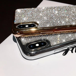 Luxury Plating Metal Rhinestone Glitter Bling Case for iPhone phone case Rubili