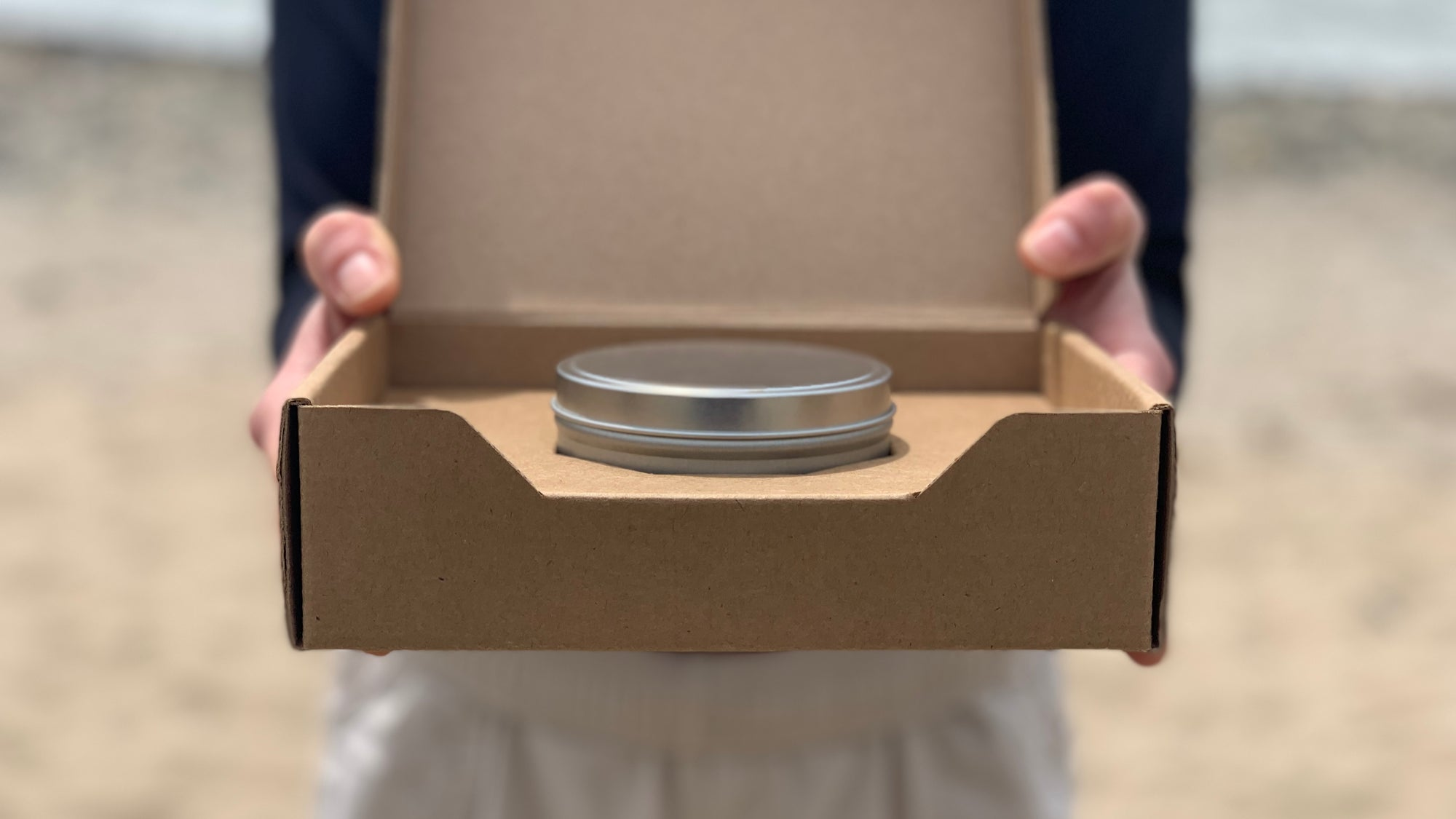 8oz. Candle Tin packaged in a Flush Shipper