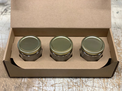 three candlescience medium straight sided candle jars packed in a flush box
