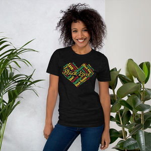 Vibe Luck Black Love African Heart Affirmations Short-Sleeve Unisex T-Shirt
