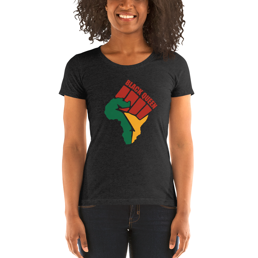 Vibe Luck Black Queen Black Power Africa Map Form Fitted Short Sleeve T-shirt