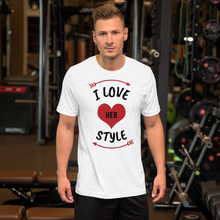 Load image into Gallery viewer, Vibe Luck I Love Her Style Couples Matching Short-Sleeve Men's T-Shirt