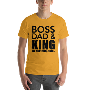 Vibe Luck Boss Dad King Of BBQ Grill Short-Sleeve Men's T-Shirt