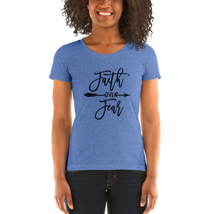 Vibe Luck Faith Over Fear Ladies' Form Fitted Short Sleeve T-shirt