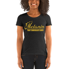 Load image into Gallery viewer, Vibe Luck Melanin That Chocolate Gold 5 Star Women's Form Fitted Short Sleeve T-shirt