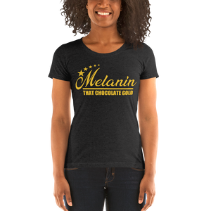 Vibe Luck Melanin That Chocolate Gold 5 Star Women's Form Fitted Short Sleeve T-shirt