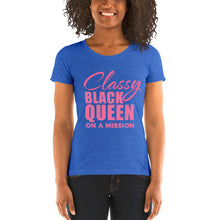 Load image into Gallery viewer, Vibe Luck Classy Black Queen On A Mission Women's Short Sleeve Form Fitted T-Shirt