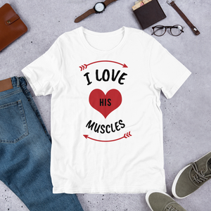 Vibe Luck I Love His Muscles Couples Matching Short-Sleeve Women's T-Shirt