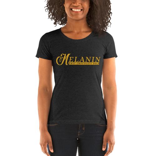Vibe Luck Signature Melanin That Chocolate Gold Short-Sleeve Form Fitted Women's T-Shirt