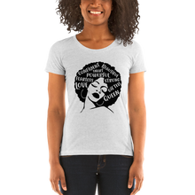 Load image into Gallery viewer, Vibe Luck Afro Lady Strong Confident Powerful Queen Ladies' Form Fitted Short Sleeve T-shirt