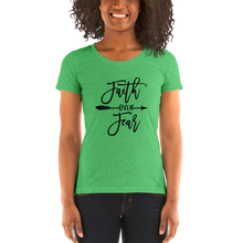 Load image into Gallery viewer, Vibe Luck Faith Over Fear Ladies' Form Fitted Short Sleeve T-shirt