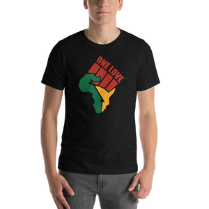 Vibe Luck Black Power One Love Africa Map Short-Sleeve Unisex T-Shirt