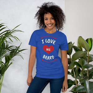 Vibe Luck I Love His Beard Couples Matching Short-Sleeve Women's T-Shirt
