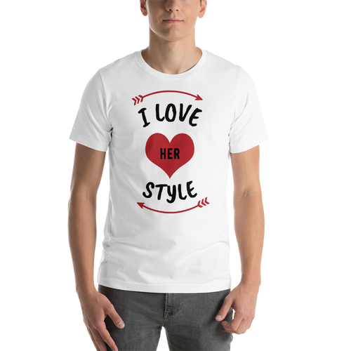 Vibe Luck I Love Her Style Couples Matching Short-Sleeve Men's T-Shirt
