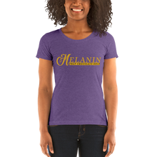 Load image into Gallery viewer, Vibe Luck Signature Melanin That Chocolate Gold Short-Sleeve Form Fitted Women's T-Shirt