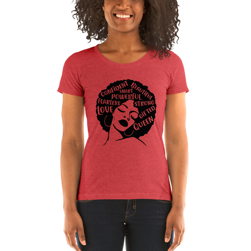 Vibe Luck Afro Lady Strong Confident Powerful Queen Ladies' Form Fitted Short Sleeve T-shirt