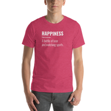 Load image into Gallery viewer, Vibe Luck Happiness A Bottle Of Beer And Watching Sports Short-Sleeve Unisex T-Shirt