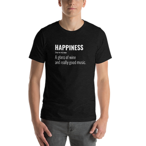 Vibe Luck Happiness A Glass of Wine And Music Short-Sleeve Unisex T-Shirt