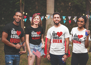 This Guy Loves His Queen Couples Short-Sleeve Men's T-Shirt