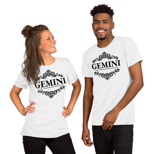 Vibe Luck Royal Gemini Twins Zodiac Sign Birthday Short-Sleeve Unisex T-Shirt