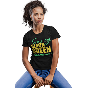Vibe Luck Sassy Black Queen On A Mission Ladies' Form Fitted Short Sleeve T-shirt