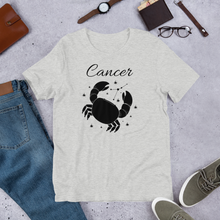 Load image into Gallery viewer, Vibe Luck Cancer Crab Zodiac Sign Birthday Short-Sleeve Unisex T-Shirt