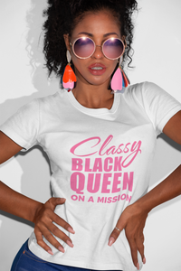 Vibe Luck Classy Black Queen On A Mission Women's Short Sleeve Form Fitted T-Shirt