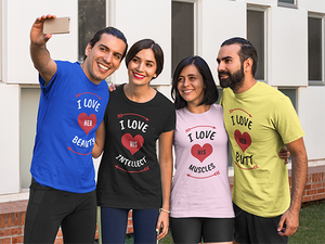 Vibe Luck I Love Her Beauty Couples Matching Short-Sleeve Men's T-Shirt