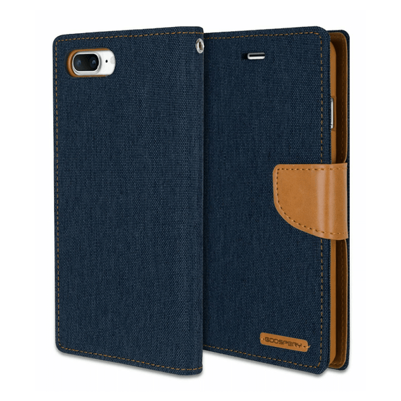 Goospery Blue Canvas Diary Case for iPhone 7/8/SE (2020)