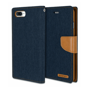 Goospery Blue Canvas Diary Case for iPhone 7+/8+