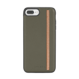 Diesel Leather Zip Olive Leather Orange Co-Mold Case For iPhone 6/7/8
