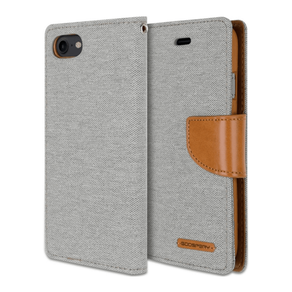 Goospery Gray/Camel Canvas Diary Case for iPhone 7+/8+