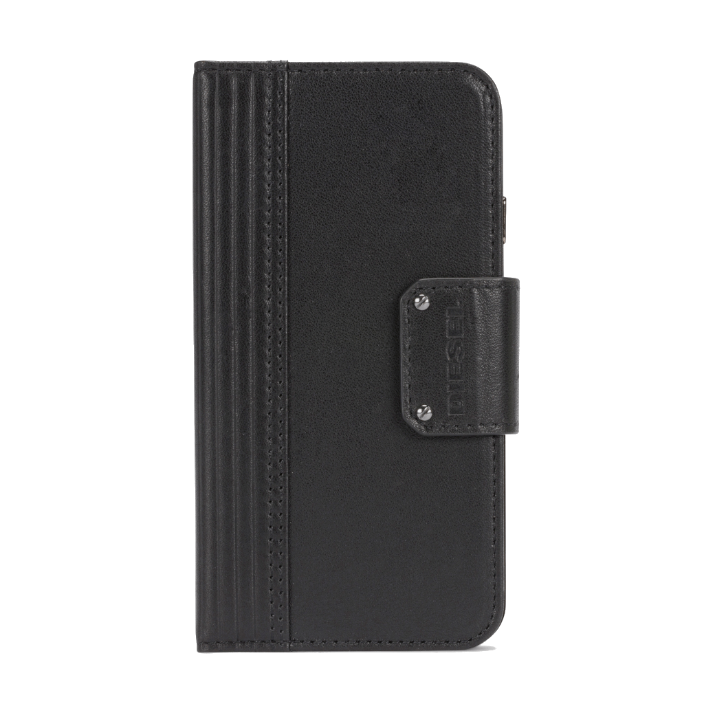 Diesel Black Lined Leather Folio For iPhone 7/8
