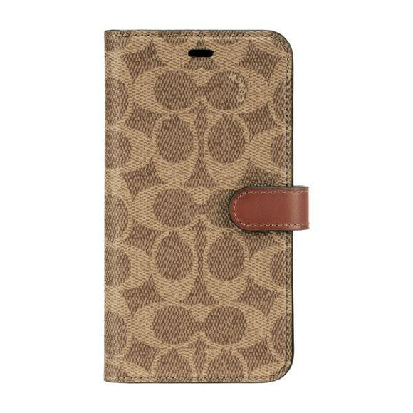 Coach Signature Khaki Folio Wallet for iPhone 11