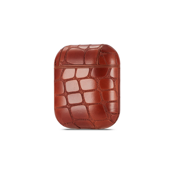 Airpods Protection Case Crocodile Skin Brown