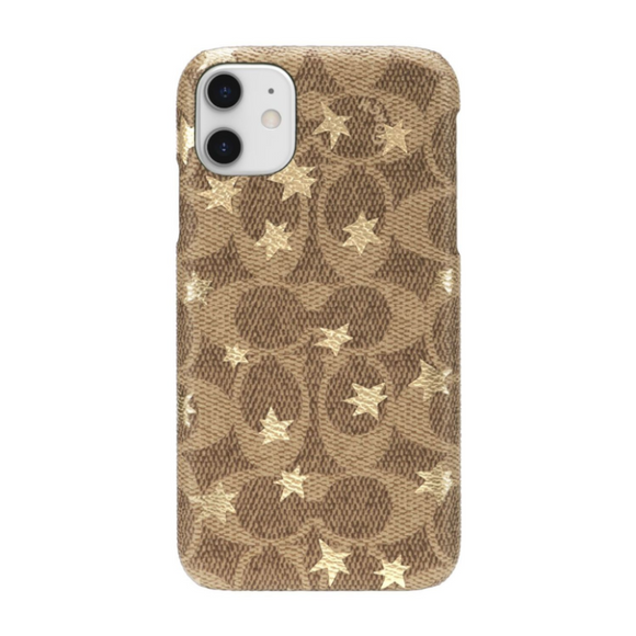 Coach Signature Gold Foil Stars Wrap Case for iPhone 11