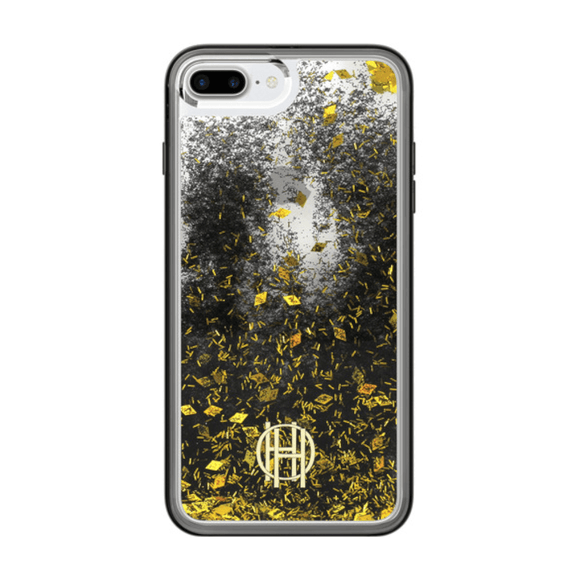House of Harlow 1960 Black/Gold Liquid Glitter Case For iPhone 7/8