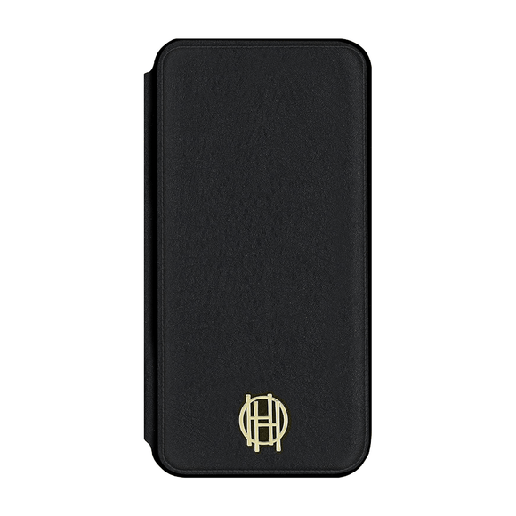 House of Harlow 1960 Black Leather Wallet/Gold Metallic Case For iPhone 7/8