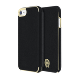 House of Harlow 1960 Black Leather Wallet/Gold Metallic Case for iPhone 7/8/SE (2020)
