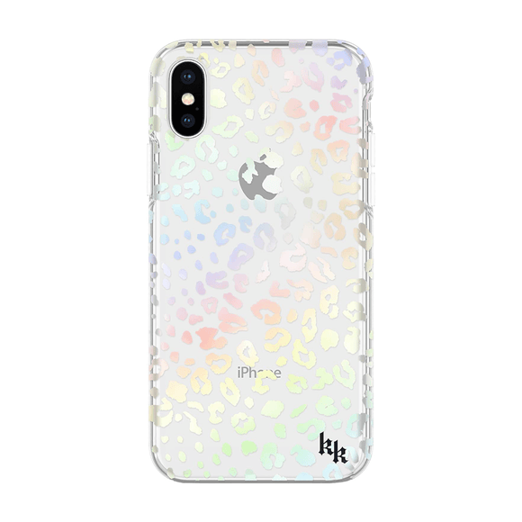 Kendall + Kylie Protective Clear Leopard/Holographic Foil Printed Case For iPhone X/Xs
