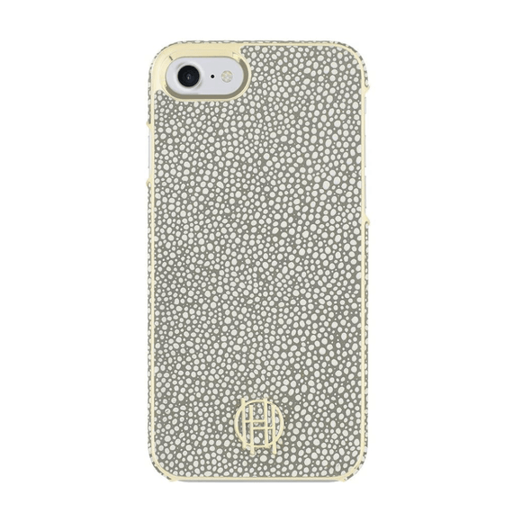House of Harlow 1960 Grey Galuchat/Gold Metallic Case For iPhone 7/8