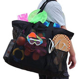 OdyseaCo - Oahu Mesh Beach Bag - Large Beach Tote Bag w/ Zipper and Multiple Pockets