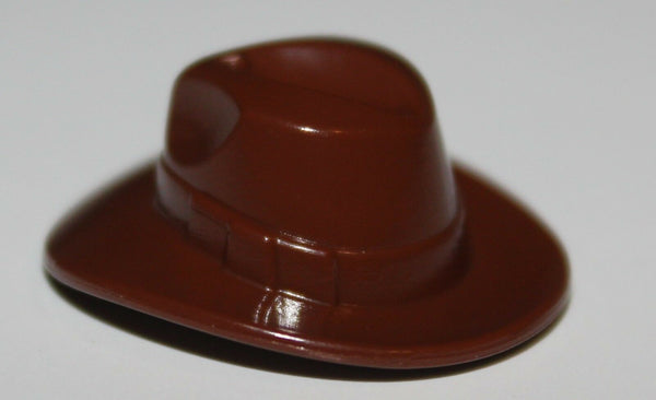 Lego Reddish Brown Minifig Headgear Hat Wide Brim Outback Style (Fedora) NEW