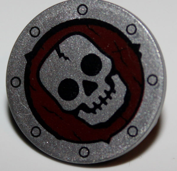 Lego Castle Round Skeleton Shield Dark Red w/ Skull Pattern NEW