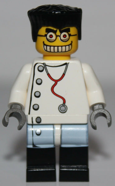 Lego Studios Mad Scientist w/ Dual Sided Head White Lag Coat w/ Buttons Pattern