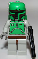 Lego Star Wars Boba Fett Light Gray Minifig w/ Black Blaster NEW
