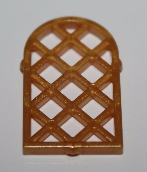 Lego 2x Pearl Gold 1 x 2 x 2 2/3 Lattice Window Pane