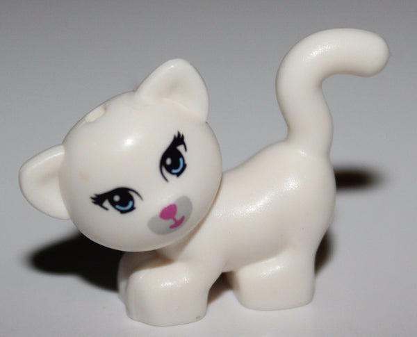 Lego Cat Standing Looking Left w/ Light Blue Eyes Dark Pink Nose + Mouth Animal